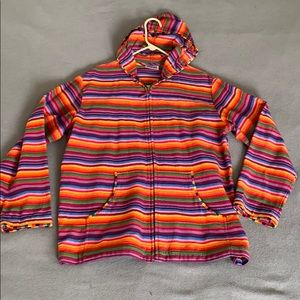 Size large Chico's multicolored hooded jacket used